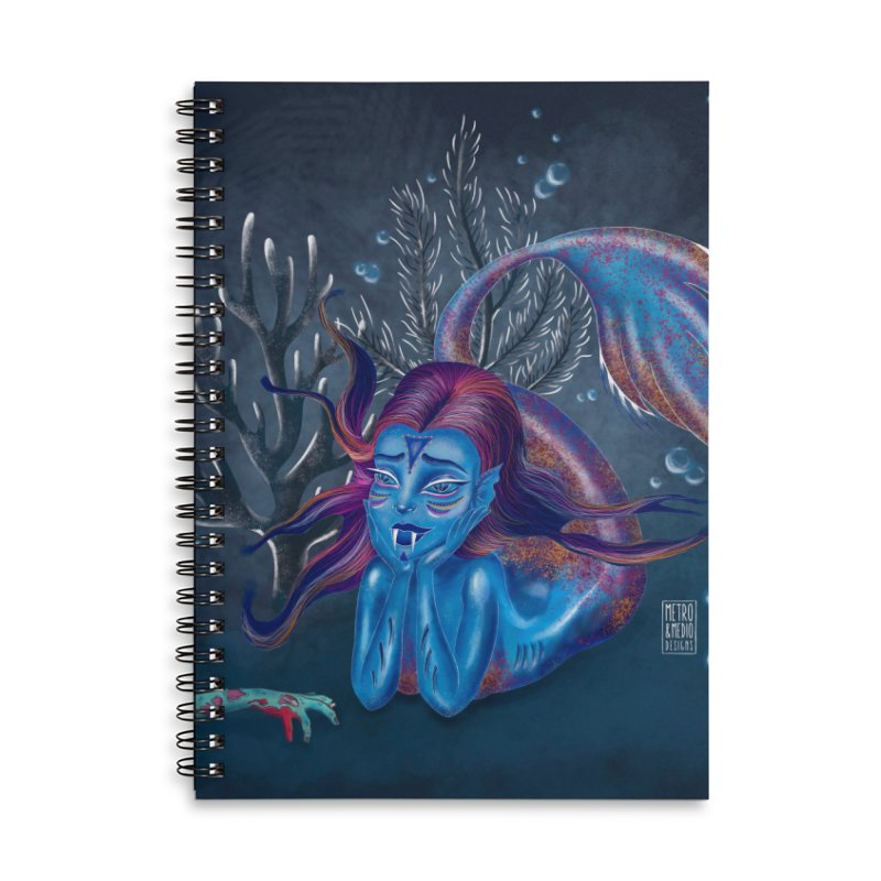 Metro&medio Designs - Blue mermaid Accessories Lined Spiral Notebook by metroymedio's Artist Shop