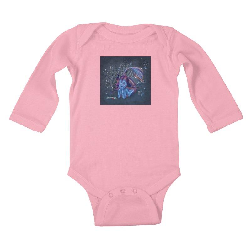 Metro&medio Designs - Blue mermaid Kids Baby Longsleeve Bodysuit by metroymedio's Artist Shop