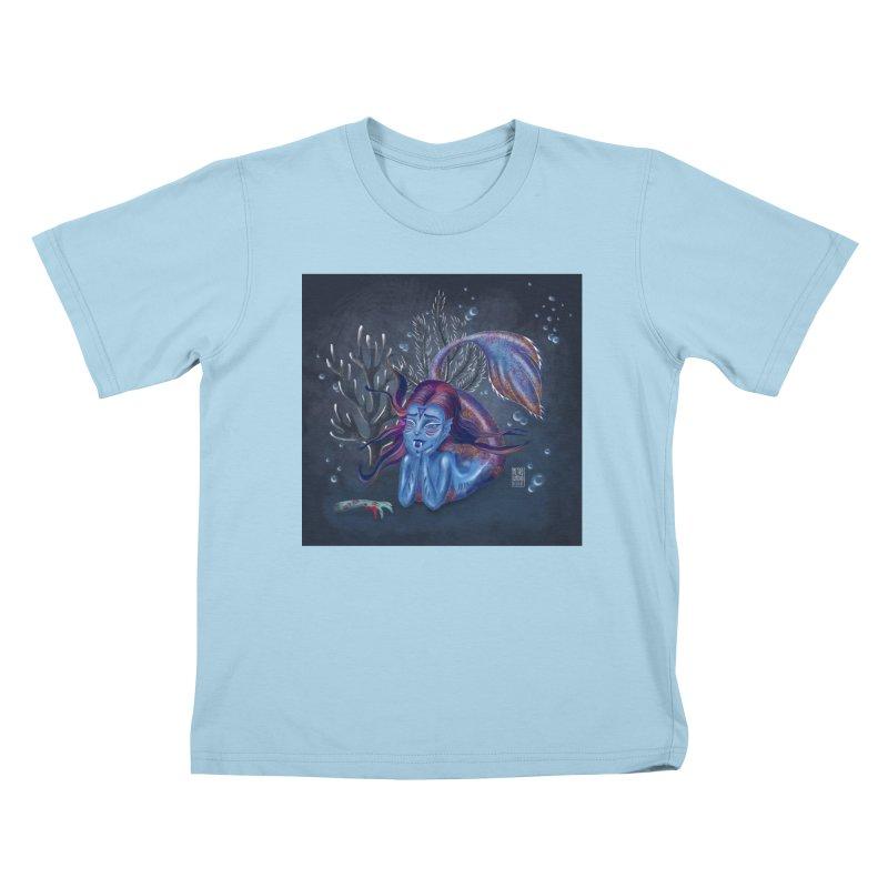 Metro&medio Designs - Blue mermaid Kids T-Shirt by metroymedio's Artist Shop