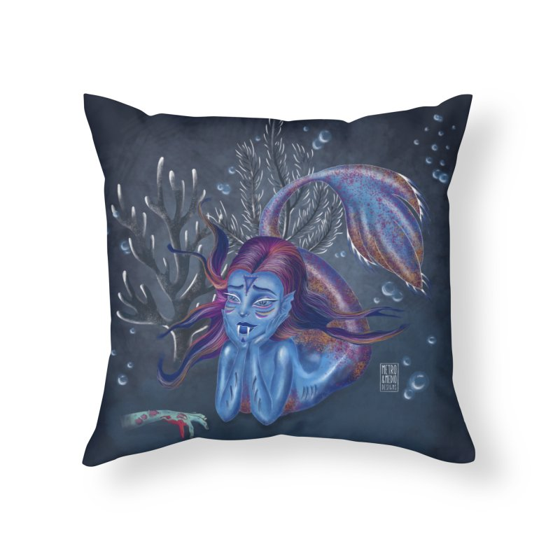 Metro&medio Designs - Blue mermaid Home Throw Pillow by metroymedio's Artist Shop