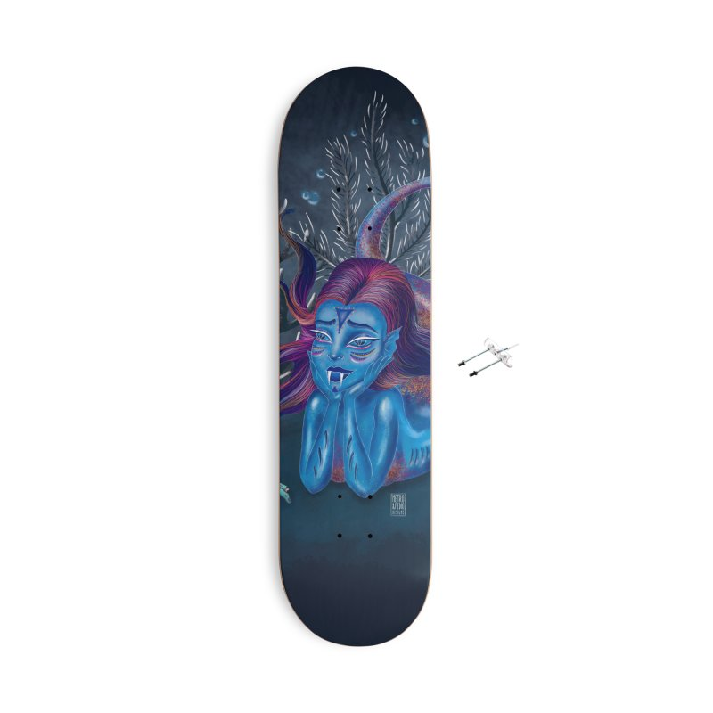 Metro&medio Designs - Blue mermaid Accessories With Hanging Hardware Skateboard by metroymedio's Artist Shop