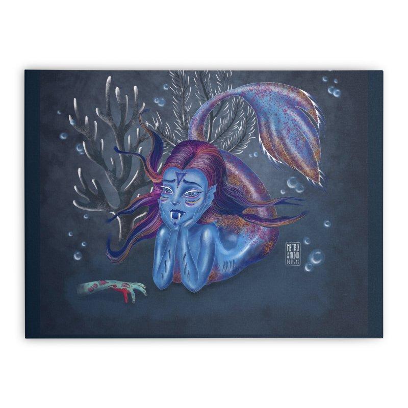 Metro&medio Designs - Blue mermaid Home Stretched Canvas by metroymedio's Artist Shop