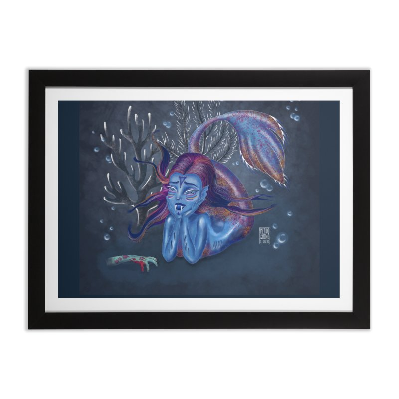 Metro&medio Designs - Blue mermaid Home Framed Fine Art Print by metroymedio's Artist Shop