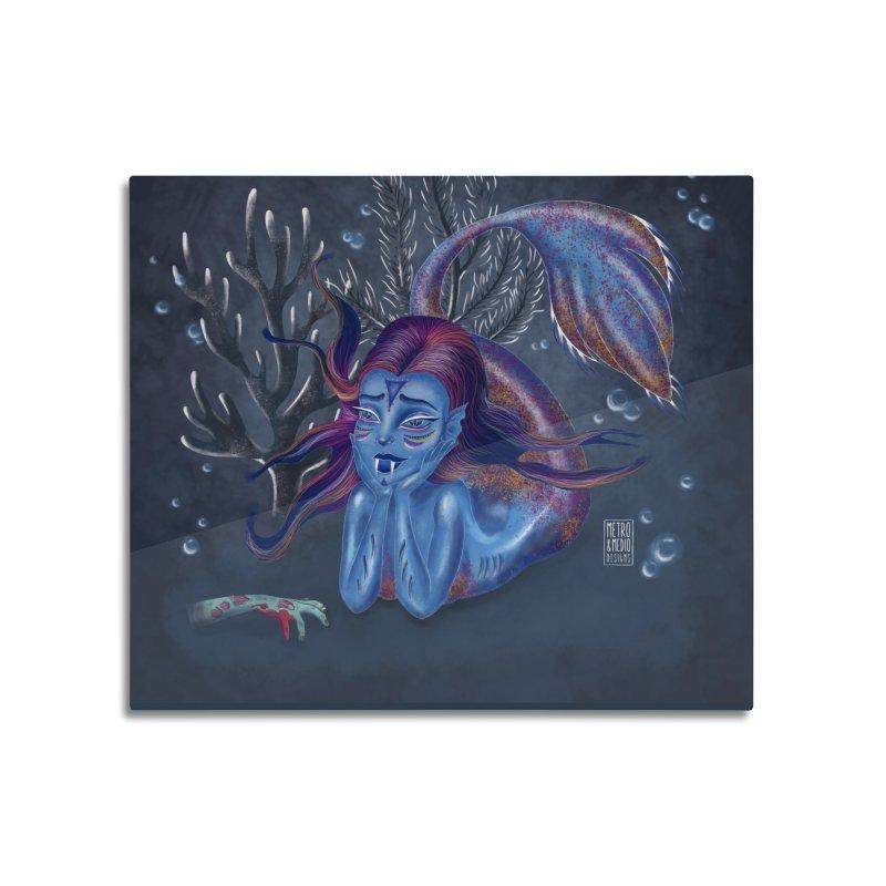 Metro&medio Designs - Blue mermaid Home Mounted Aluminum Print by metroymedio's Artist Shop