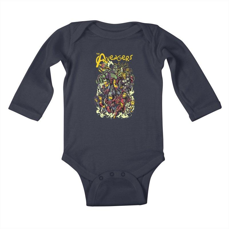 Springfield Avengers Kids Baby Longsleeve Bodysuit by mewtate's Artist Shop