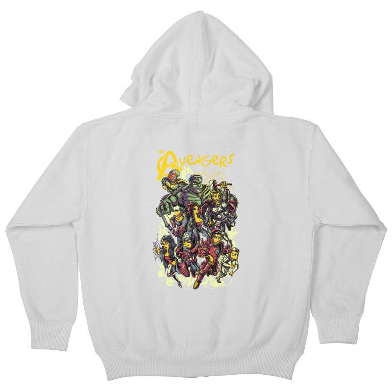 Springfield Avengers Kids Zip-Up Hoody by mewtate's Artist Shop