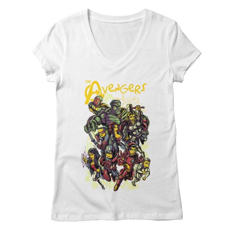 Springfield Avengers Women's V-Neck by mewtate's Artist Shop