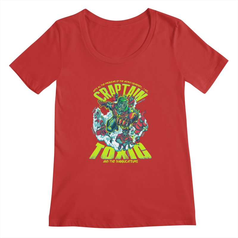 Oh Craptain Women's Scoopneck by mewtate's Artist Shop