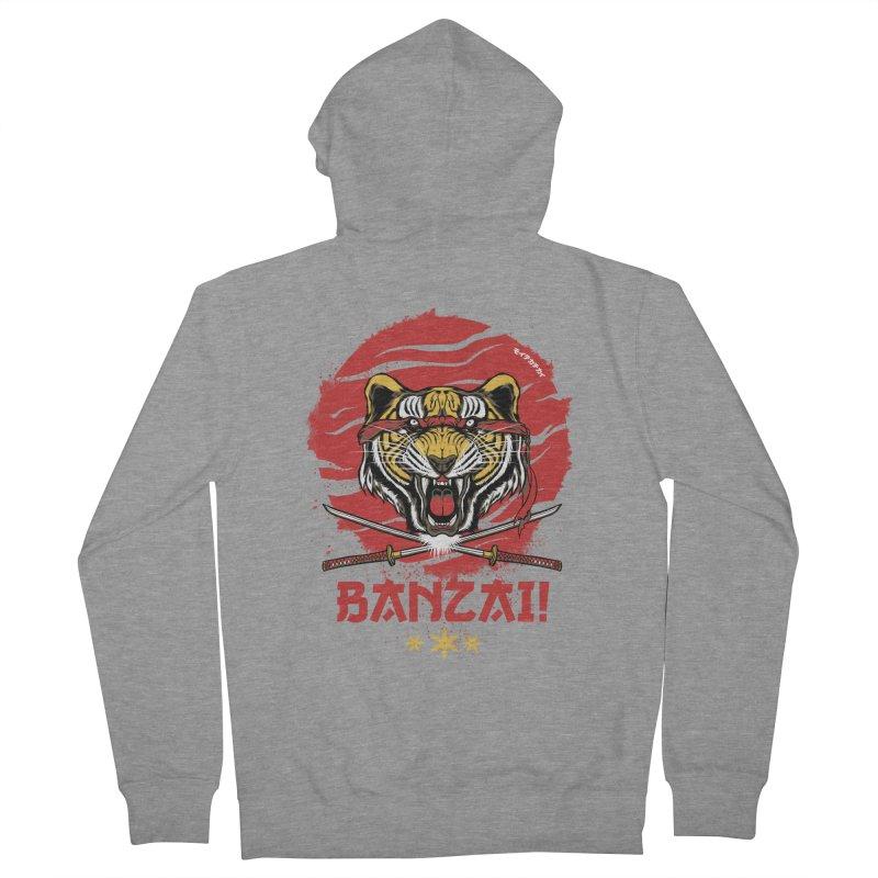 BANZAI! Men's Zip-Up Hoody by mewtate's Artist Shop