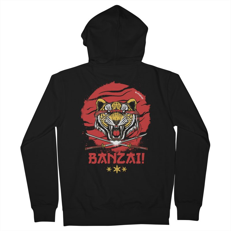 BANZAI! Men's Zip-Up Hoody by mewtate's Artist Shop