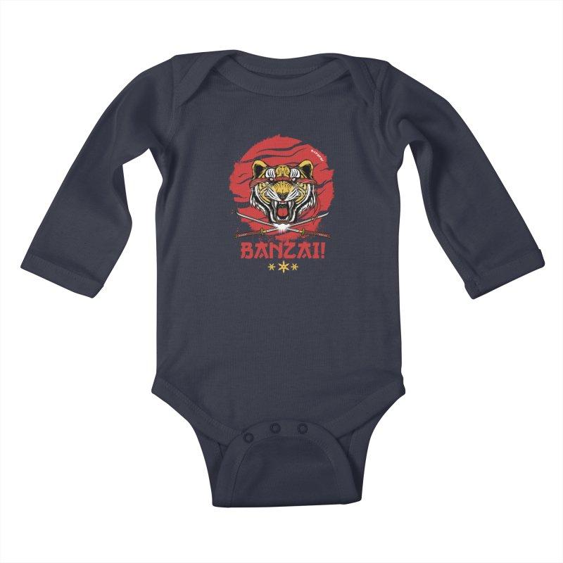 BANZAI! Kids Baby Longsleeve Bodysuit by mewtate's Artist Shop