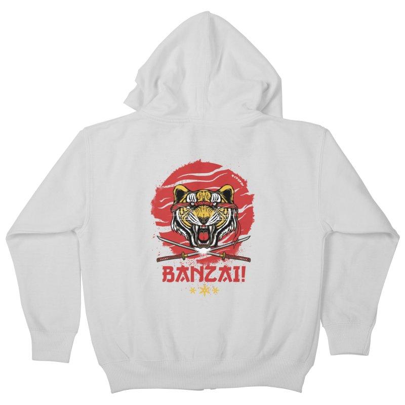 BANZAI! Kids Zip-Up Hoody by mewtate's Artist Shop