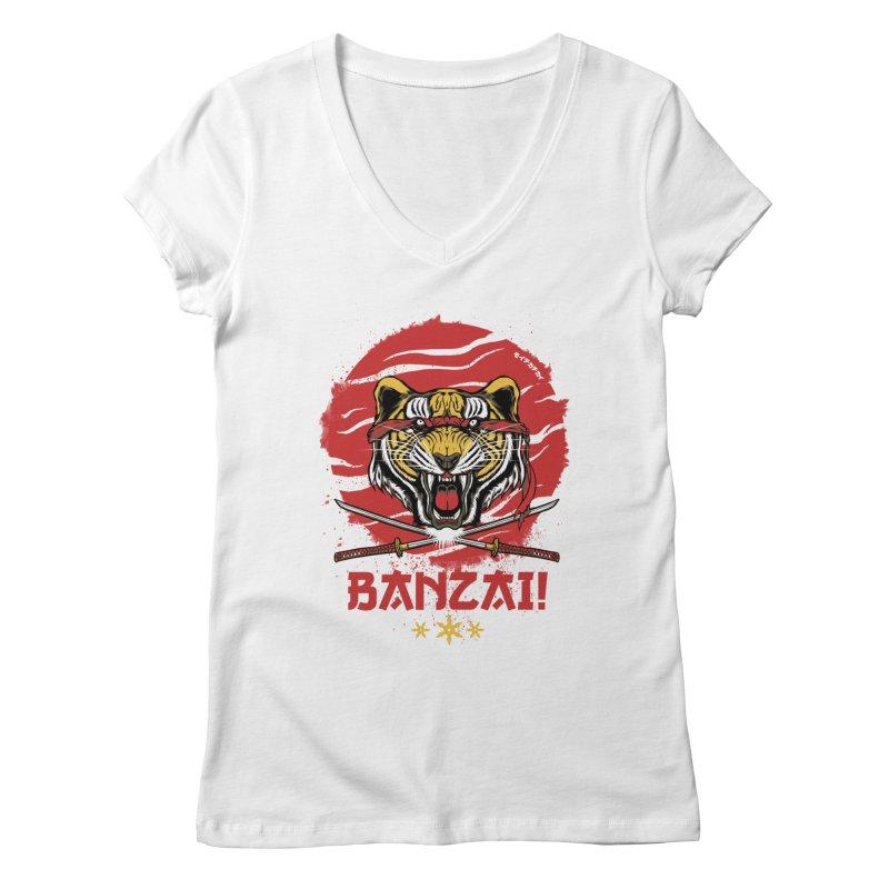 BANZAI! Women's V-Neck by mewtate's Artist Shop