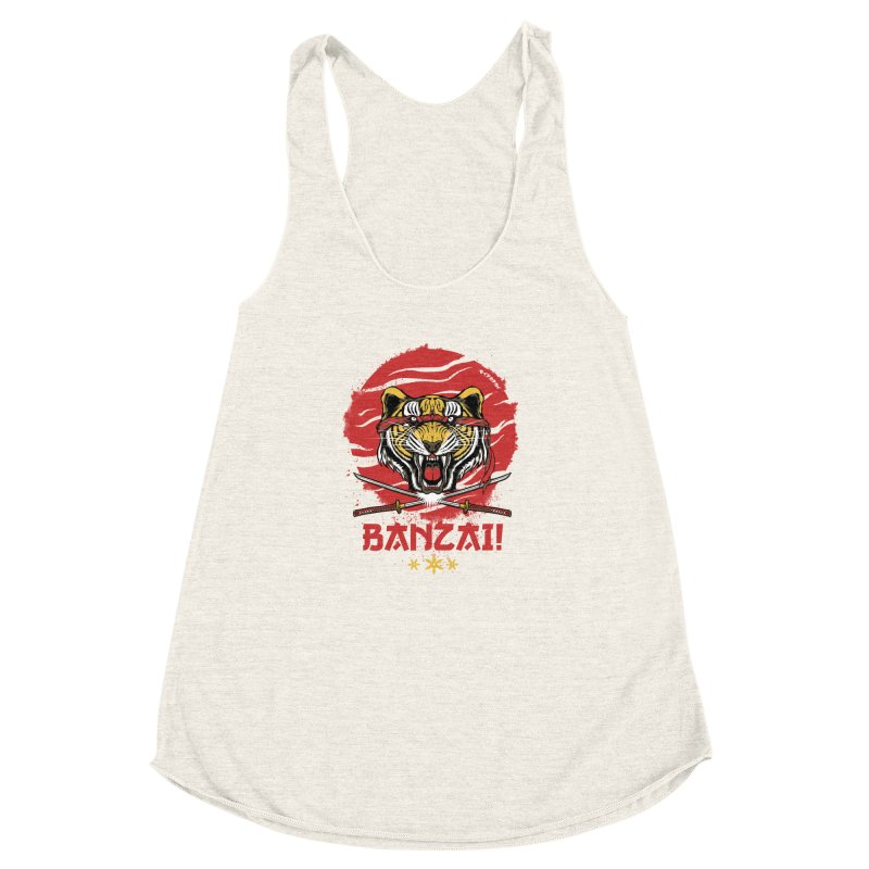 BANZAI! Women's Racerback Triblend Tank by mewtate's Artist Shop