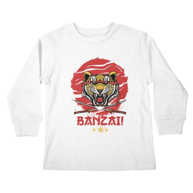 BANZAI! Kids Longsleeve T-Shirt by mewtate's Artist Shop