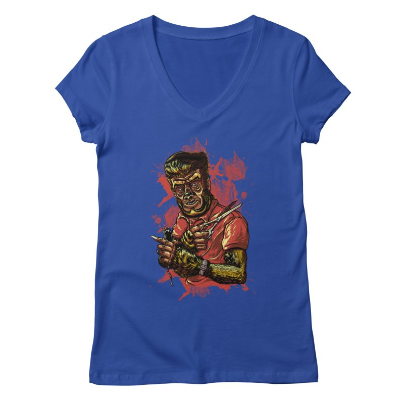 The Wolf Barber of Flee! Steet Women's V-Neck by mewtate's Artist Shop