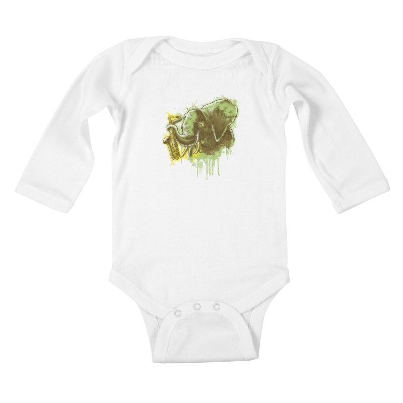 Elefunkaaz Kids Baby Longsleeve Bodysuit by mewtate's Artist Shop