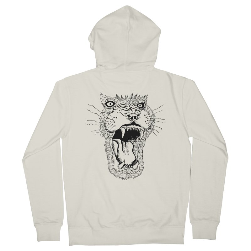 Blk Lion Roar Men's Zip-Up Hoody by Mexican Dave's Artist Shop