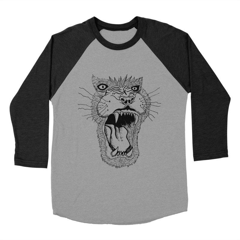Blk Lion Roar Men's Baseball Triblend T-Shirt by Mexican Dave's Artist Shop