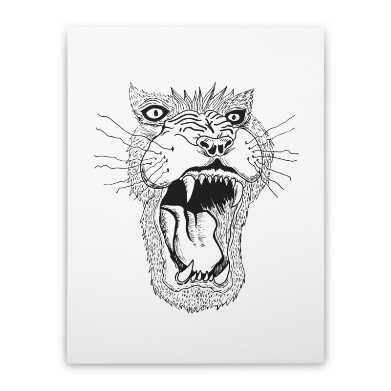 Blk Lion Roar Home Stretched Canvas by Mexican Dave's Artist Shop