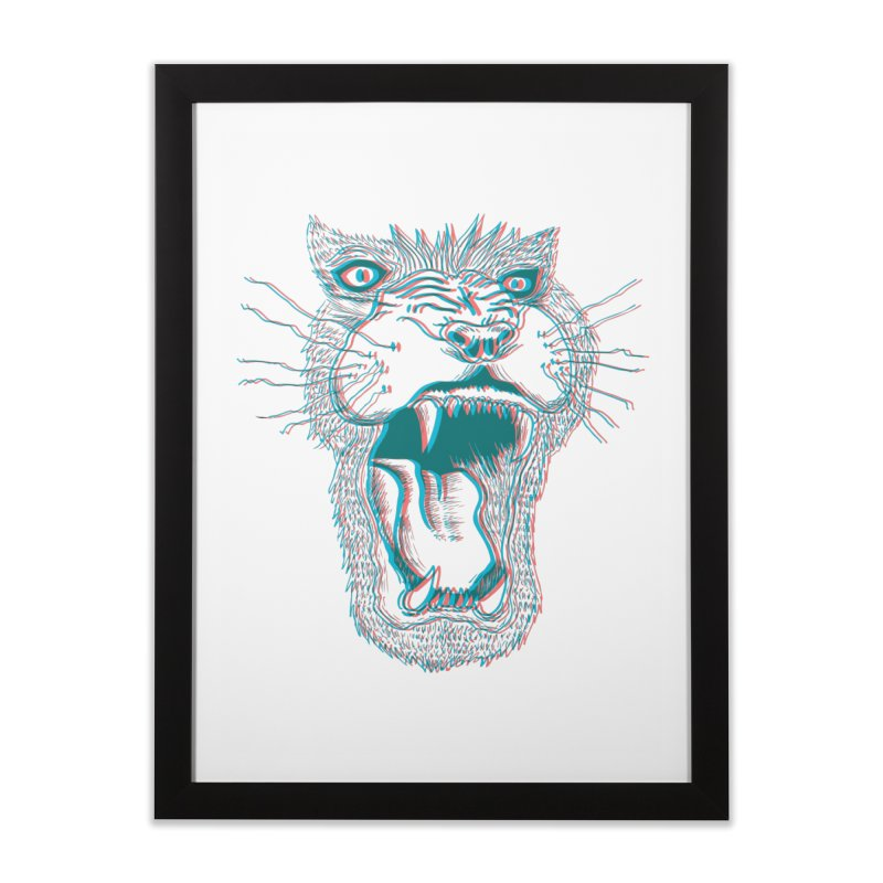 3D Lion Roar Home Framed Fine Art Print by Mexican Dave's Artist Shop