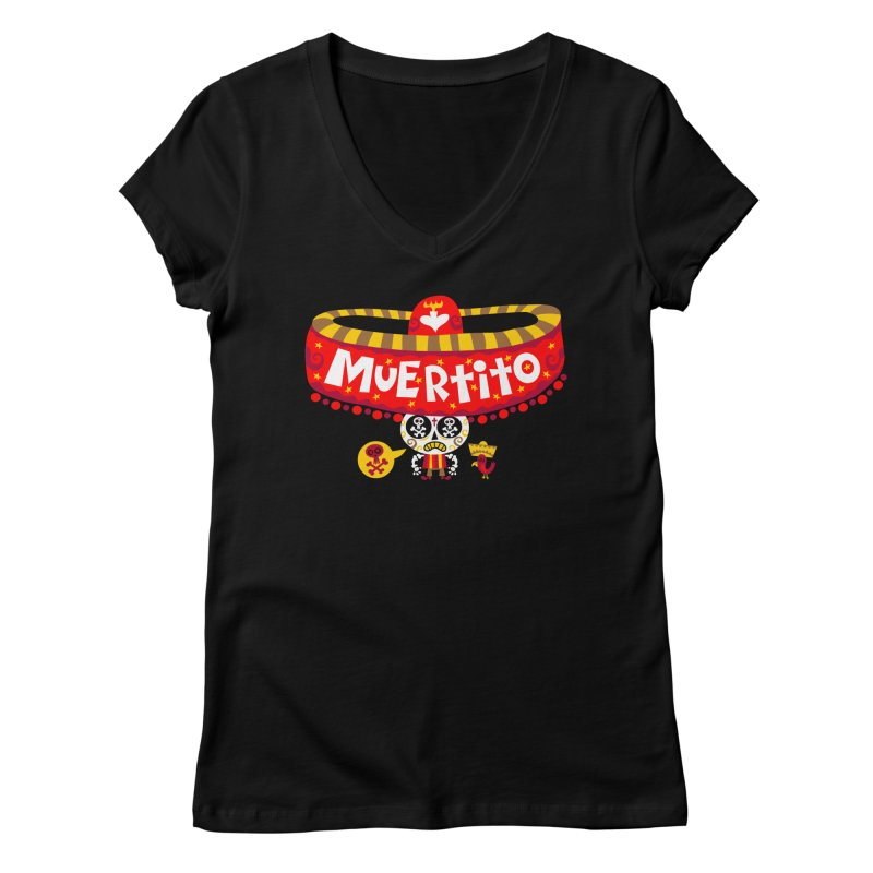 Muertito Women's Regular V-Neck by Super Macho Artist Shop