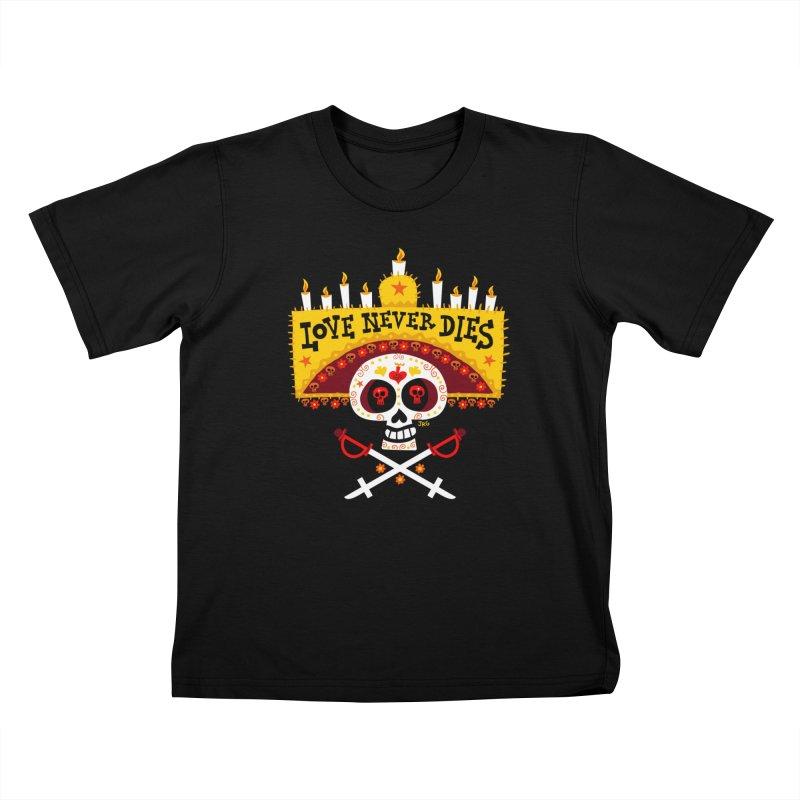 Love Never Dies Kids T-Shirt by Super Macho Artist Shop