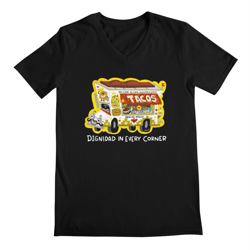 Taco Truck Men's V-Neck by Super Macho Artist Shop