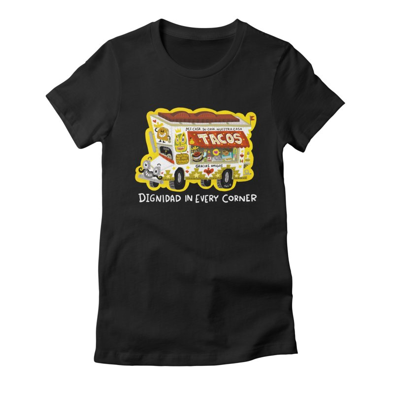Taco Truck Women's Fitted T-Shirt by Super Macho Artist Shop