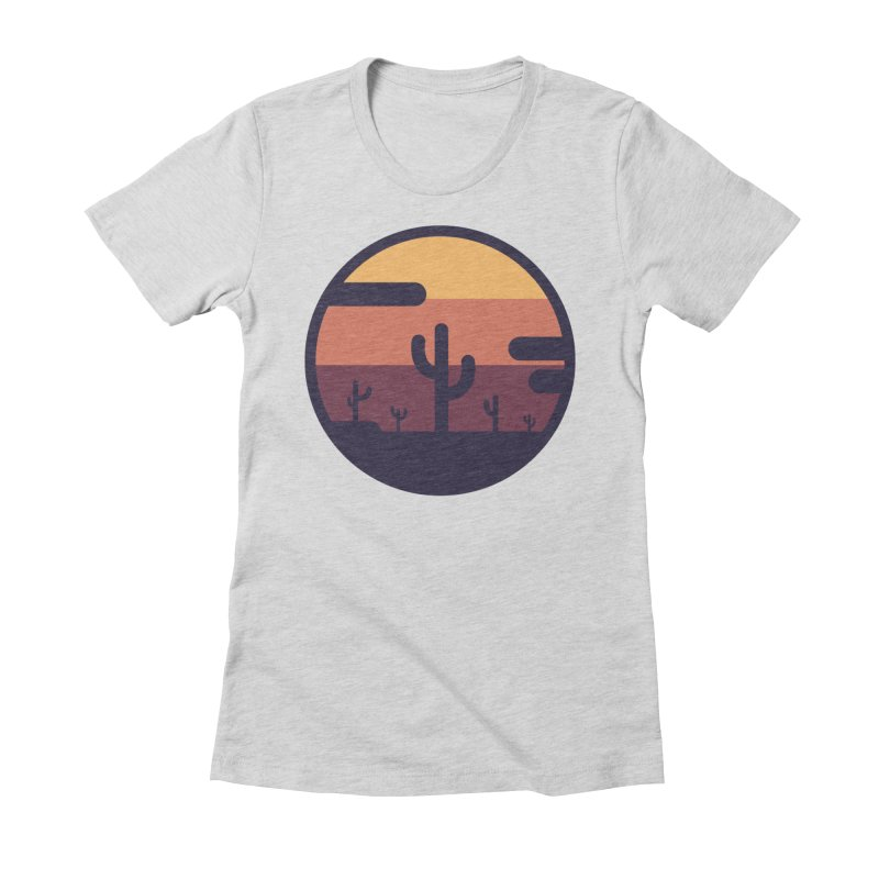 Circular Landscape - Cactus Women's Fitted T-Shirt by mhacksi's Artist Shop