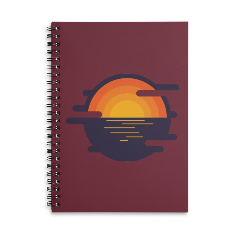 Circular Landscape - Sunset Accessories Lined Spiral Notebook by mhacksi's Artist Shop