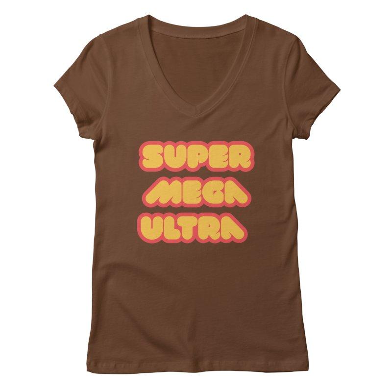 Super Mega Ultra Women's Regular V-Neck by mhacksi's Artist Shop