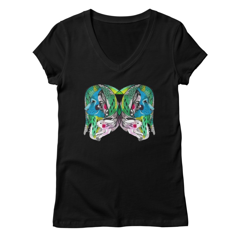 Hiding Free Women's V-Neck by Mica Still / Collection of Giggles