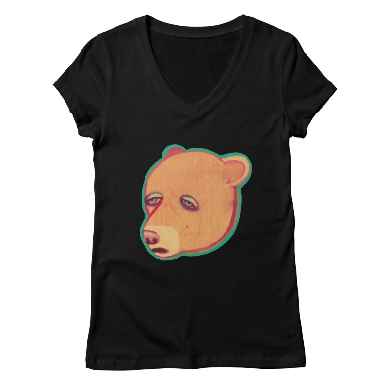 Mr Sad Bear Women's V-Neck by Mica Still / Collection of Giggles