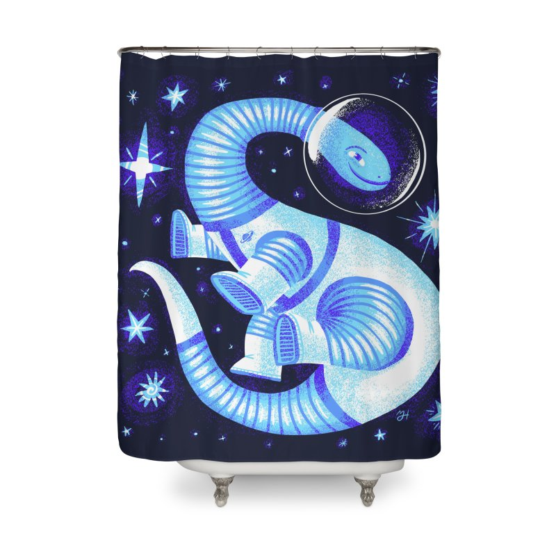 Fuzz, the Space Dino, from Galaxy Team Force Squad Ultra Zero Bravo Home Shower Curtain by Michael J Hildebrand's Artist Shop