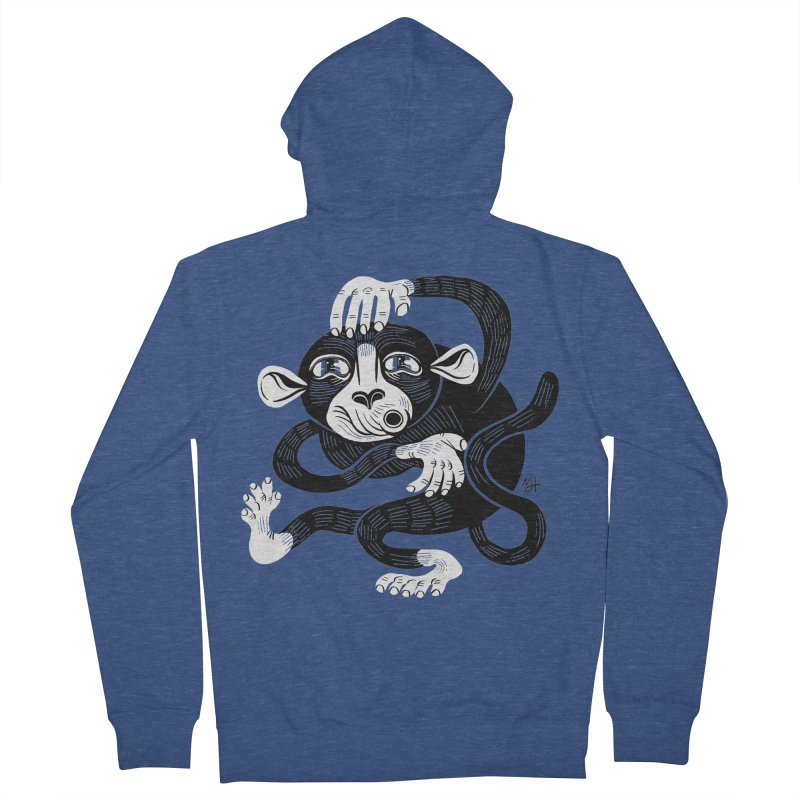 Monkey Me Men's French Terry Zip-Up Hoody by Michael J Hildebrand's Artist Shop