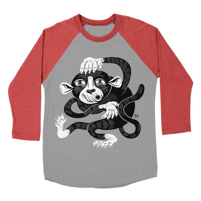 Monkey Me Women's Baseball Triblend Longsleeve T-Shirt by Michael J Hildebrand's Artist Shop