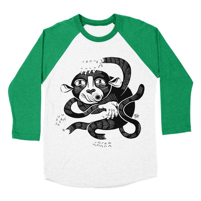 Monkey Me Men's Baseball Triblend Longsleeve T-Shirt by Michael J Hildebrand's Artist Shop