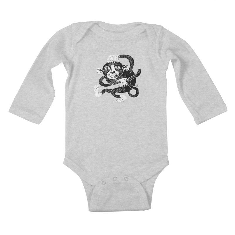 Monkey Me Kids Baby Longsleeve Bodysuit by Michael J Hildebrand's Artist Shop