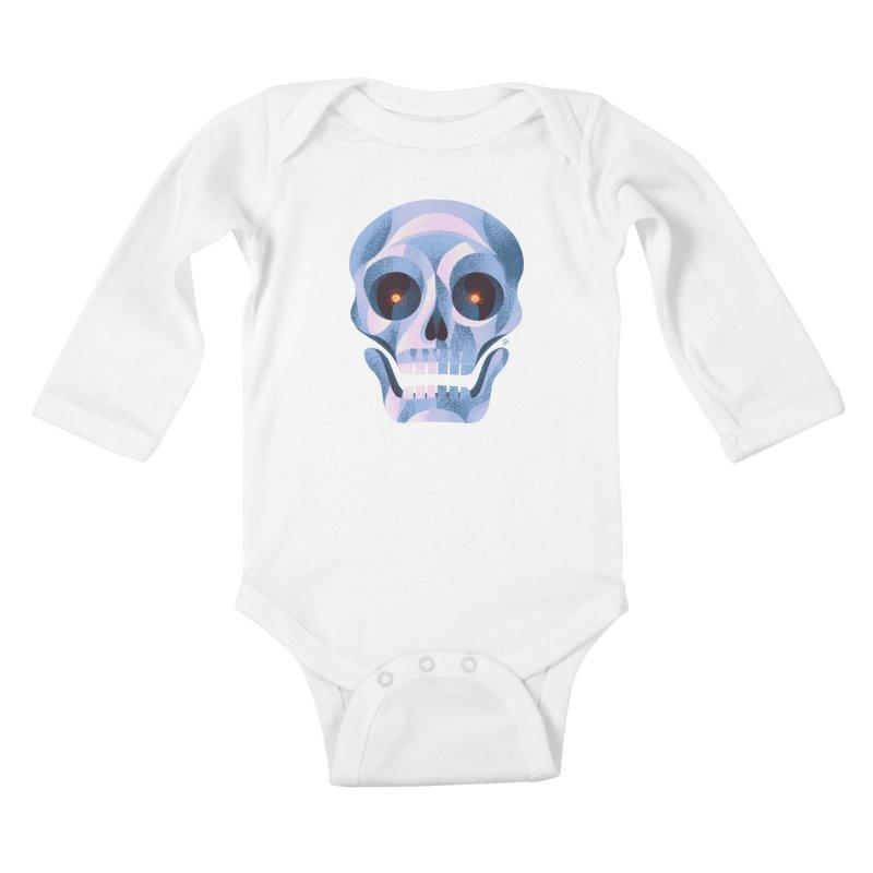 Spoooky Skull Kids Baby Longsleeve Bodysuit by Michael J Hildebrand's Artist Shop