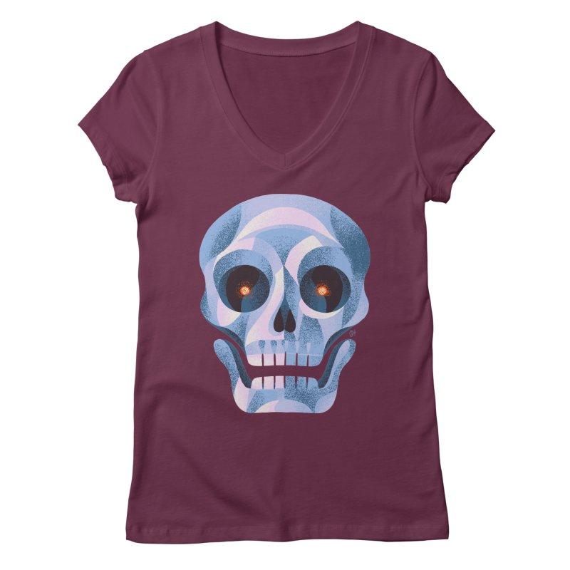Spoooky Skull Women's Regular V-Neck by Michael J Hildebrand's Artist Shop