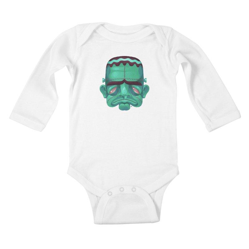 Spoooky Frank Kids Baby Longsleeve Bodysuit by Michael J Hildebrand's Artist Shop