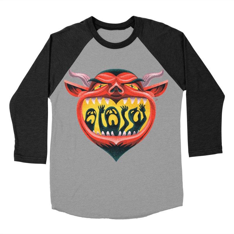 Spoooky Demon Women's Baseball Triblend Longsleeve T-Shirt by Michael J Hildebrand's Artist Shop