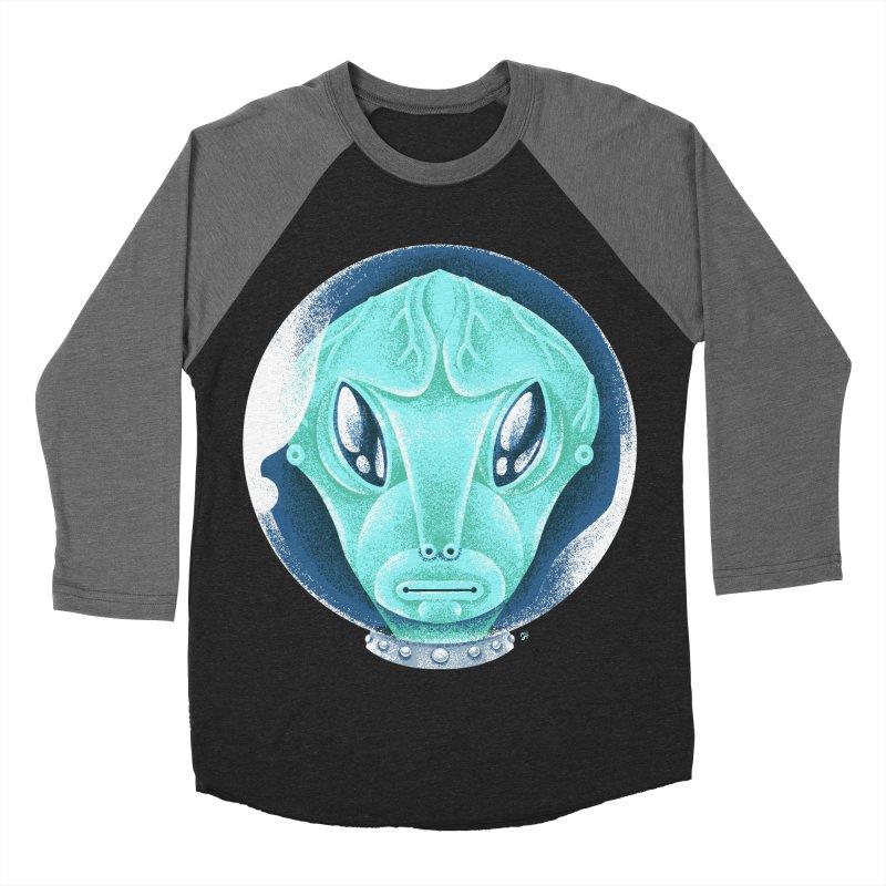 Spooky Alien Men's Baseball Triblend Longsleeve T-Shirt by Michael J Hildebrand's Artist Shop