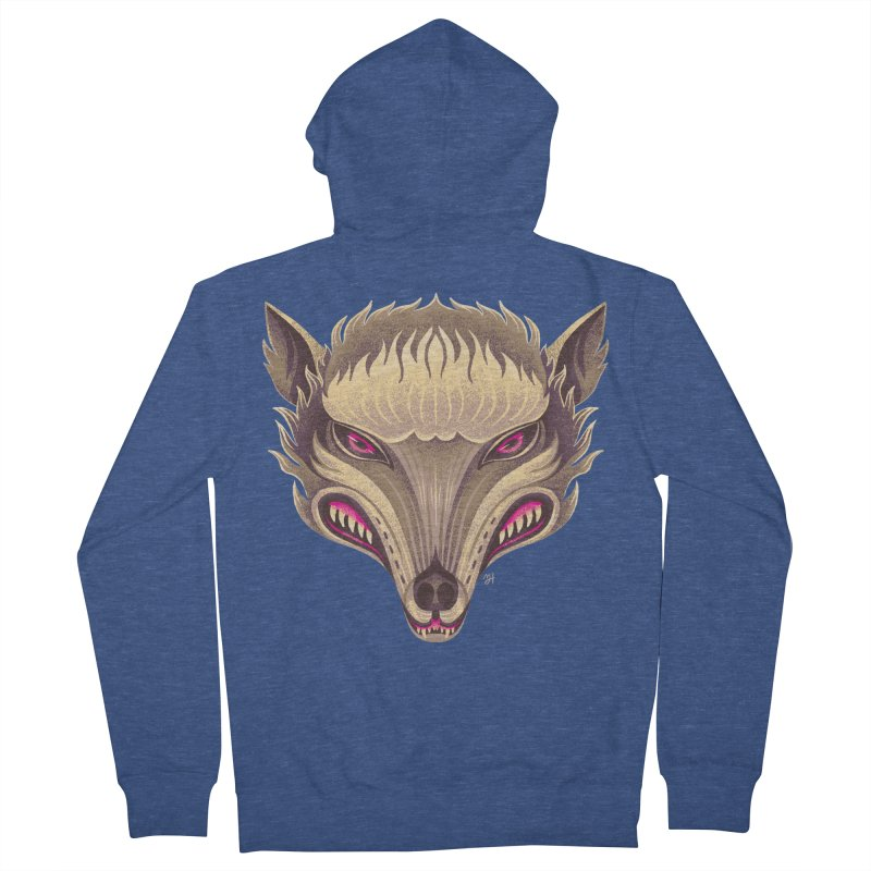 Spoooky Wolfman Women's French Terry Zip-Up Hoody by Michael J Hildebrand's Artist Shop