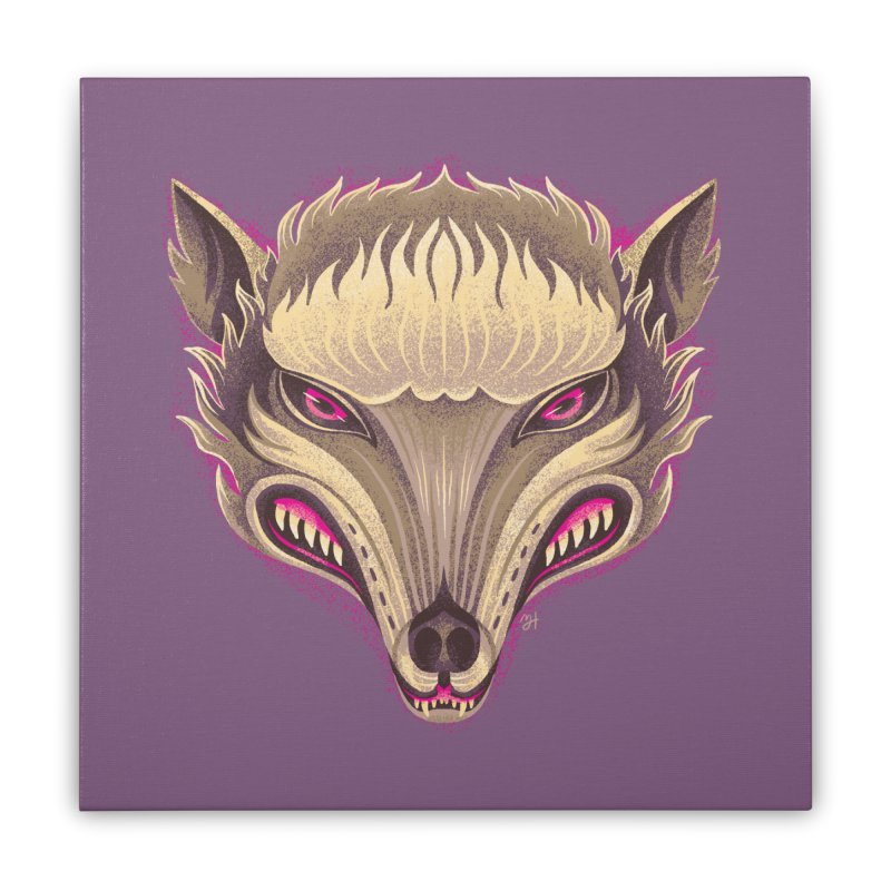 Spoooky Wolfman Home Stretched Canvas by Michael J Hildebrand's Artist Shop