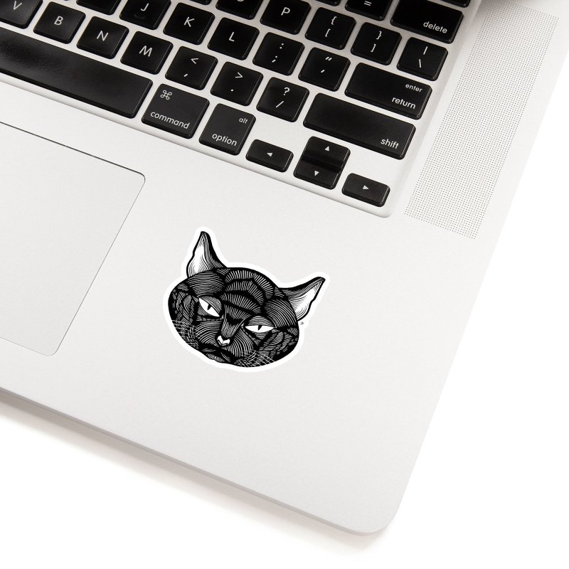 Spoooky Black Cat Accessories Sticker by Michael J Hildebrand's Artist Shop