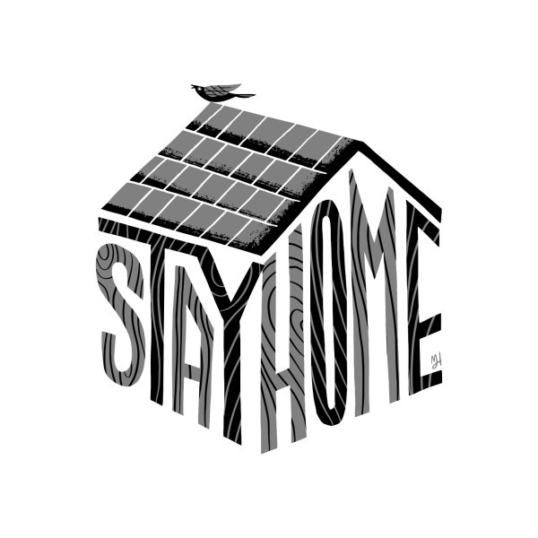 image for Stay Home - Bird House (BW version)