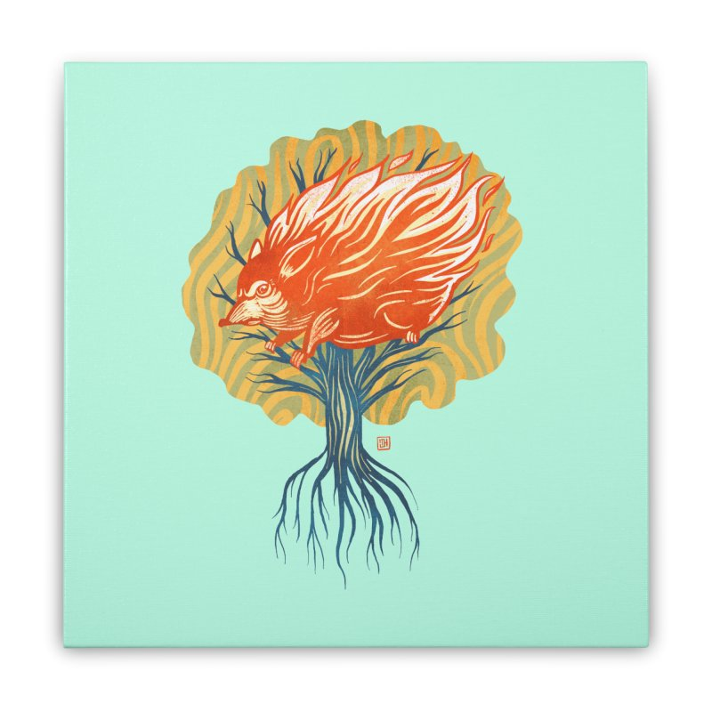 My Back Is On Fire! (5 word v8) Home Stretched Canvas by michaeljhildebrand's Artist Shop