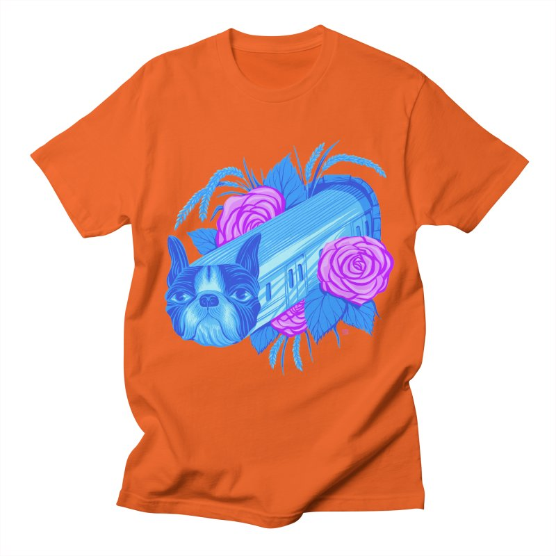 Terrier Train to Rose & Rice Town is Blossoming at the Station (5 word v10) Men's T-Shirt by Michael J Hildebrand's Artist Shop